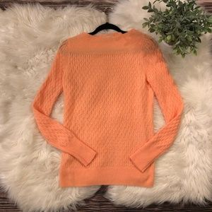 Loft Boatneck Orange Sorbet Cozy Soft Sweater